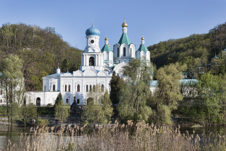Intercession Church and Cathedral of the Assumption - the temples of Holy Assumption Sviatohirsk Monastery. Ukraine, Donetsk region