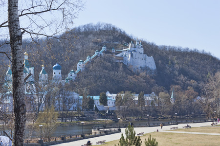 Siversky Donets river and Churches of Lavra in Sviatohirsk, April. Ukraine, Donetsk region