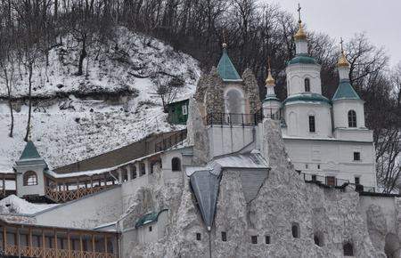 Nicholas Church on the chalk hill in Sviatohirsk. Ukraine, Donetsk region