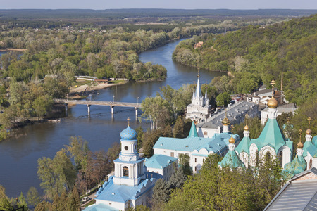 Siversky Donets river and Churches of Lavra in Sviatohirsk, April. View from St. Nicolas church