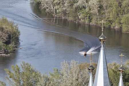 Siversky Donets river and Cupolas of Churche, April. View from St. Nicolas church