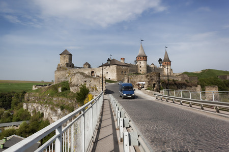 KAMENETS-PODILSKY, UKRAINE - MAY 3, 2013: On the way leading to the old fortress, a symbol of the city