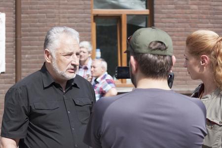 SLOVIANSK, UKRAINE - MAY 15, 2018: Pavlo Zhebrivsky, Head of Donetsk Regional Military and Civil Administration gives interviews to Kurt Volckers press conference in Sloviansk