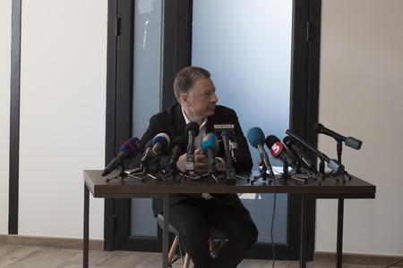 SLOVIANSK, UKRAINE - MAY 15, 2018: Kurt Volker, Special Representative of the US Department of State for Ukraine, in Sloviansk at a press conference