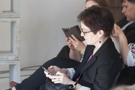SLOVIANSK, UKRAINE - MAY 15, 2018: Marie Jovanović, Ambassador Extraordinary and Plenipotentiary of the United States to Ukraine at the Kurt Volker press conference in Sloviansk