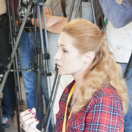 SLOVIANSK, UKRAINE - MAY 15, 2018: Iryna Baglay, special correspondent for the Ukrainian TV channel Inter, at the Kurt Volker press conference in Sloviansk