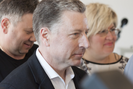 SLOVIANSK, UKRAINE - MAY 15, 2018: Kurt Volker, Special Representative of the US Department of State for Ukraine, in Slavyansk among journalists and visitors to the press-center