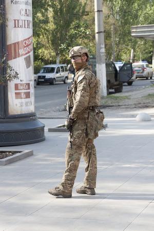 SLOVIANSK, UKRAINE - MAY 15, 2018: Military Armed Forces of Ukraine guard Kurt Volckers press conference in Sloviansk