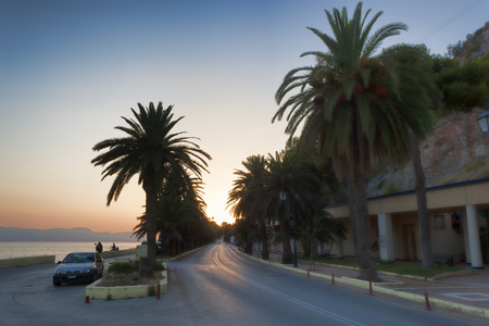 LOUTRAKI, GREECE - JULY 30, 2018: The road leading from Loutraki to the west