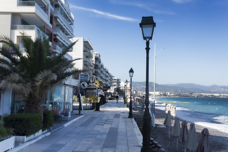 LOUTRAKI, GREECE - JUNE 30, 2018: On the waterfront of Loutraki on a summer day in the morning