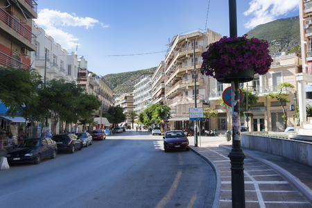 LOUTRAKI, GREECE - JUNE 29, 2018: On the street of Loutraki on a summer day Editorial