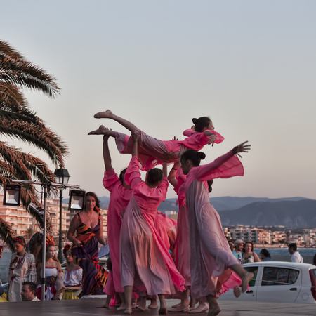 LOUTRAKI, GREECE - JUNE 30, 2018: Dance Ensemble from Ukrainian Kyiv at the Childrens International Competition Constellation of Terpsichore in Loutraki Editorial