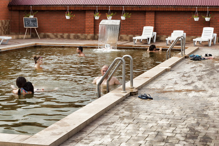 BEREHOVE, UKRAINE - AUGUST 4, 2015: Thermal pools of the Zhayvoronok health complex are known throughout Ukraine for their therapeutic properties.