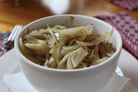 Dumplings with cabbage and fried onions - traditional Ukrainian cuisine Stock Photo