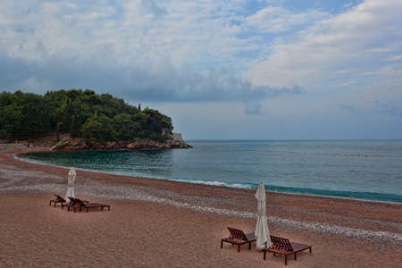 Deserted beach on the Adriatic Sea. The area of the Budva Riviera