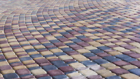 Multicolored Sidewalk Tile Texture. Laying, footpath. Pavement lined with multicolored tiles 写真素材