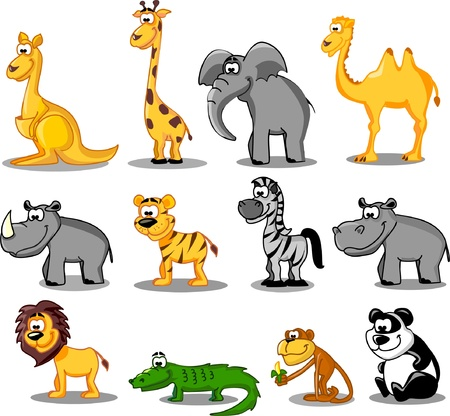 animales de la selva: Gran conjunto de animales de dibujos animados Vectores