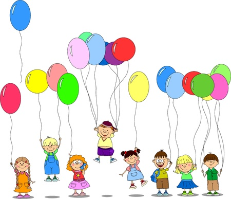 birthday balloon: children hold balloons, greeting card, vector