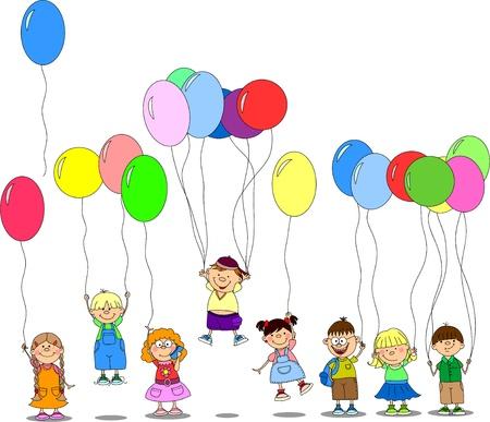 ni�os con pancarta: los ni�os tienen los globos, tarjetas de felicitaci�n, vector