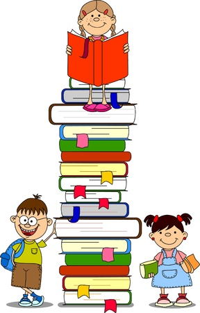 mujer leyendo libro:  ilustración vectorial de estudiantes y libros