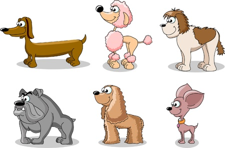 hound: set cartoon dogs of different breeds  Illustration