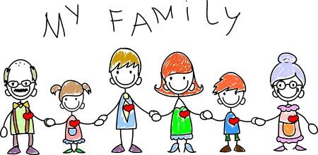 testvérek: boldog család kézenfogva és mosolyogva