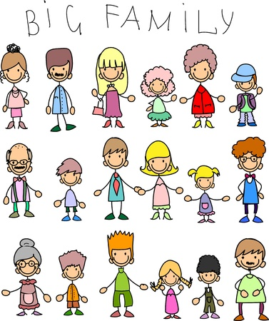 family cartoon: Doodle members of large families