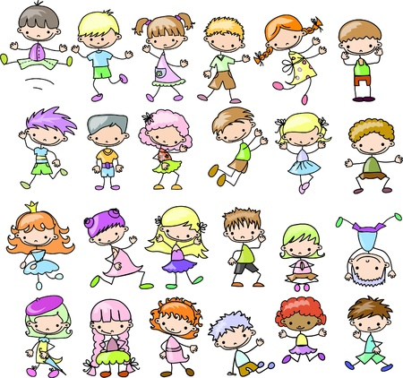 cute girl cartoon: Cute happy kids