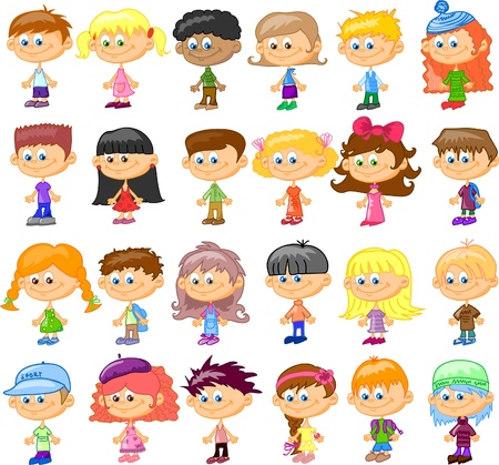 set cartoon children