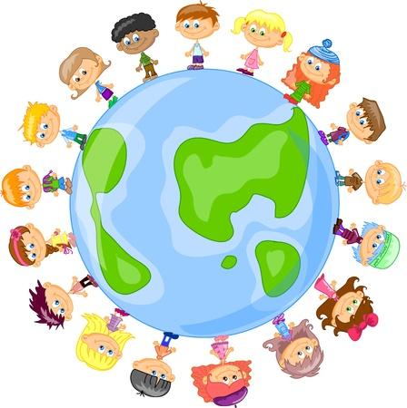 family icon: set cartoon children