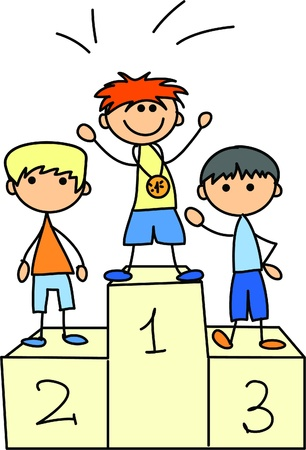 triunfador: de dibujos animados icono del deporte Vectores