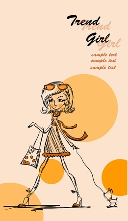 Fashion cartoon girl  Vector