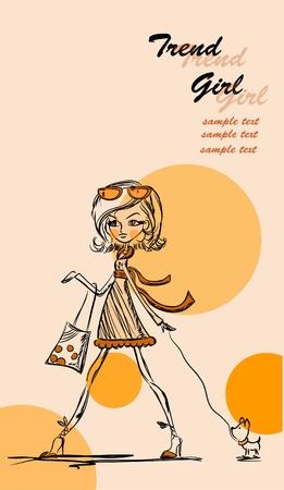 Fashion cartoon girl  Vector