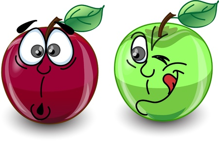Red and green apple with a variety of emotions  Vector