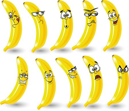 Cartoon bananas with emotions Vector
