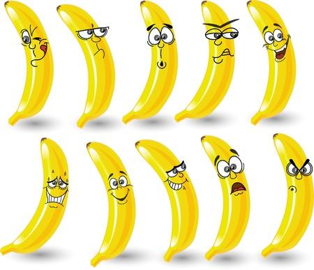 banana caricatura: Los pl�tanos de dibujos animados con las emociones