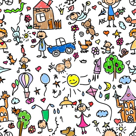 skateboarding: child pattern seamless  Illustration