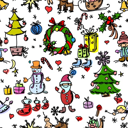 Christmas doodle pattern seamless Stock Vector - 11235442