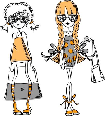 dress sketch: Cartoon fashionable girls  Illustration