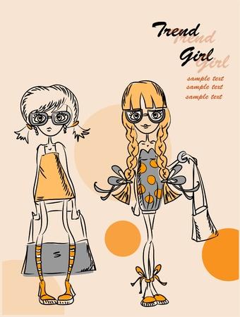 high fashion model: Cartoon fashionable girls  Illustration