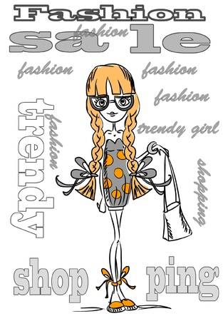 Cartoon fashionable girls Stock Vector - 11216586