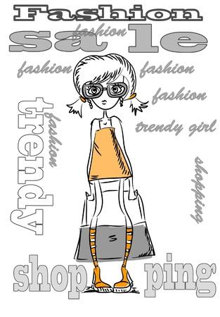 Cartoon fashionable girls Vektorové ilustrace
