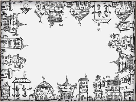 dibujos lineales: Casas de arte para su diseño Vectores