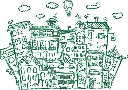 hand draw: Art houses for your design  Illustration
