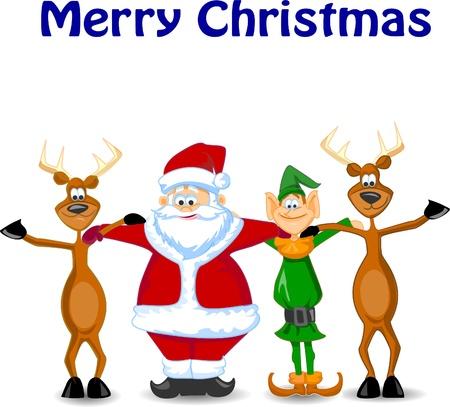 caribou: Cartoon Santa claus, Elf, Reindeer