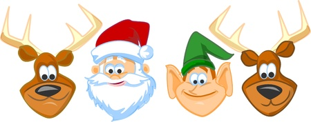 caribou: Cartoon faces Santa claus, Elf, Reindeer  Illustration