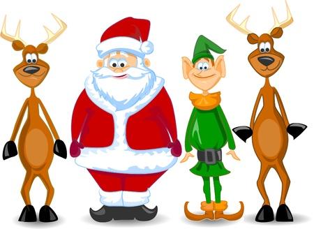 weihnachtsmann lustig: Cartoon Weihnachtsmann, Elf, Rentier