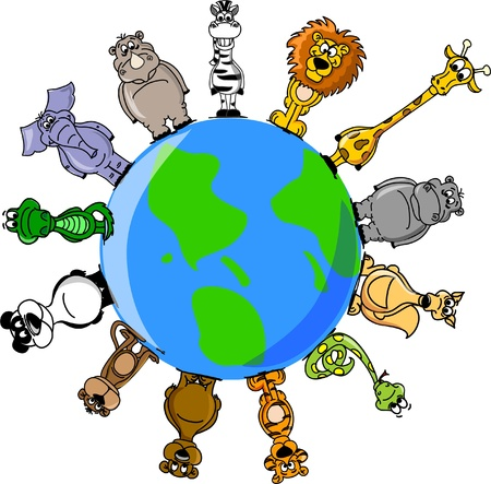 Animals around the Earth  Vector