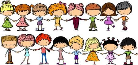 ecole maternelle: des enfants mignons de bande dessin�e tenant par la main