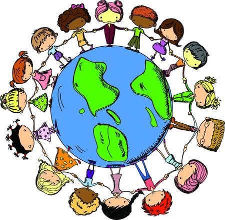 animated boy: cartoon cute children holding hands around the globe